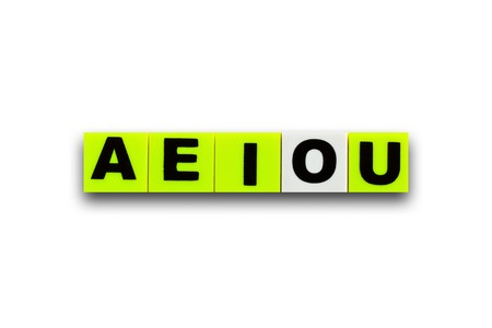 vowel: coloful plastic vowel on the white background