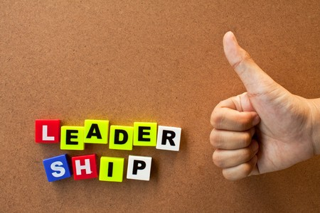 leadership concept: Word leadership isolated on wood board - business concept