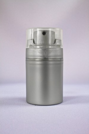 Silver cosmetic bottle on white background,isolate photo