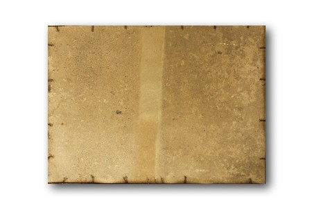 Old dirty stained blank torn paper isolated on a white background. photo