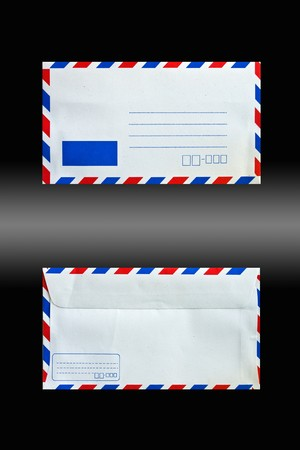 envelope back and front side isolated on black photo