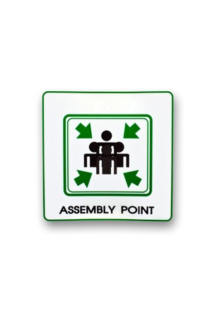 evacuation: assembly point sign isolate on white background Stock Photo