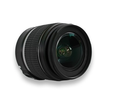 Black camera lens isolated in white background photo
