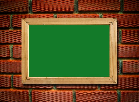 green board and the brick background , add your text on the blank Stock Photo - 8033701