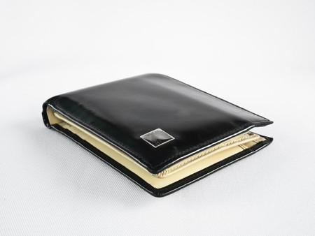 black leather wallet isolate on white background photo