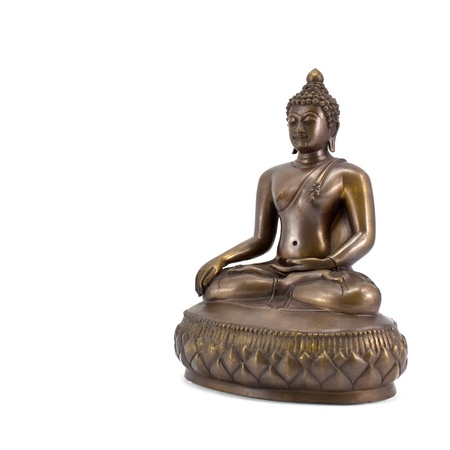 Traditional Thai bronze Buddha statuette isolated on white photo