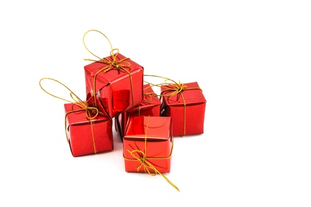 set of gift box over white background Stock Photo - 8479505