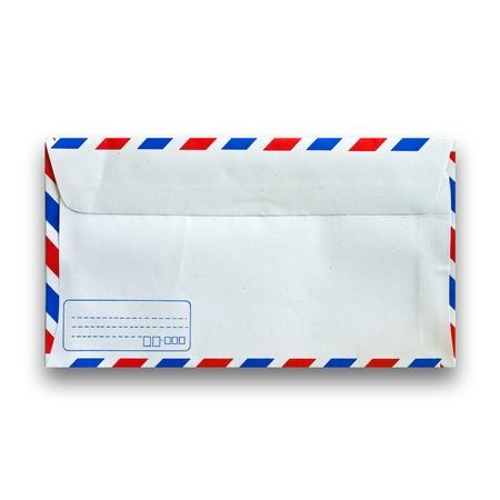 back side of envelope isolated on white photo