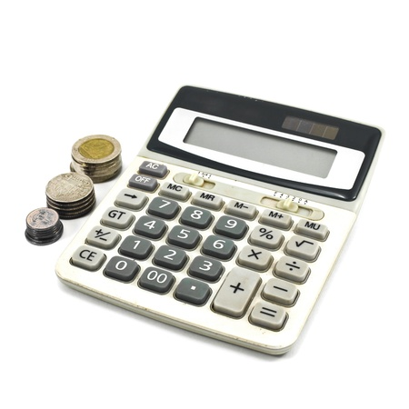 calculator money: Calculator and Coins isolate on White Background