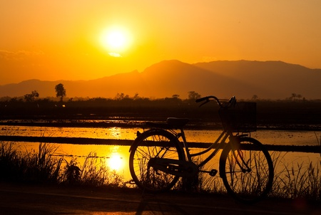 mountain biking: bicycle insunset Stock Photo
