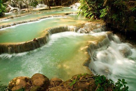cataract falls: Kuang Si Waterfall, Luang prabang, Laos Stock Photo