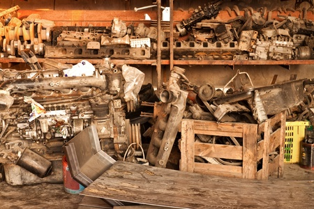 Metal waste and scrap the old car parts photo