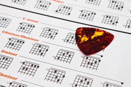 bass guitar: paper of chord chart for guitarist and musician