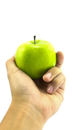 An apple on the hand isolated on white photo