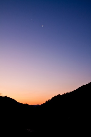 high mountain silhouette with beautiful colorful sky. Stock Photo - 8867565