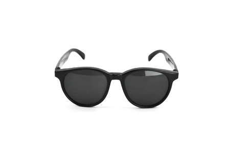 sunglasses reflection: vintage retro black sunglasses isolated on white