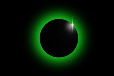 eclipse: green eclipse and the dark universe Stock Photo