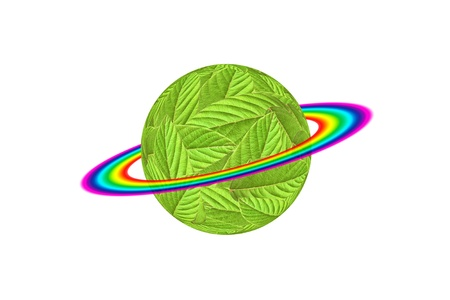 Green Earth - the entire surface is covered with leaf and rainbow Stock Photo - 9283977