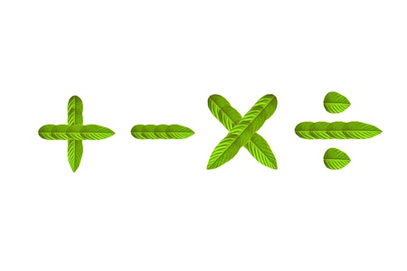 math sign made from green leaf isolated on white background Stock Photo - 9361317