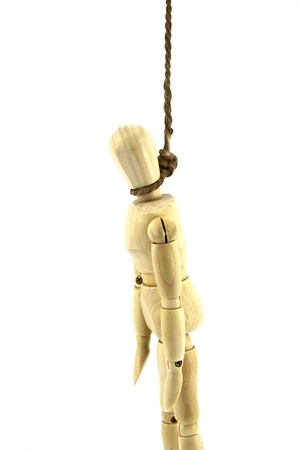 hung: The hung up dummy.isolated on white background Stock Photo