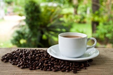 tazas de cafe: taza de café y la pila de semillas Foto de archivo