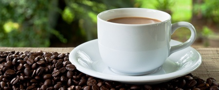 cup of coffee and stack seed Stock Photo - 9672245
