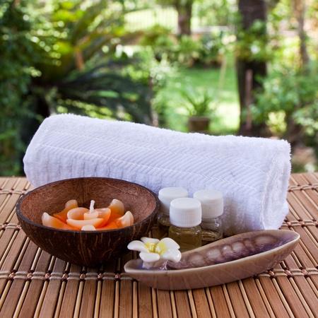 Conjunto de aroma en spa para relajarse