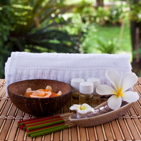 spa bath: Set of aroma in spa for relax