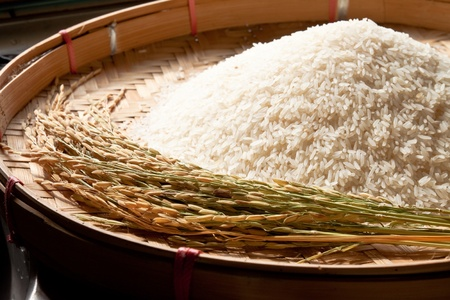 basmati: rice on threshing basket