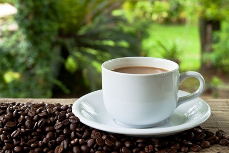 cup of coffee and stack seed Stock Photo - 9672260