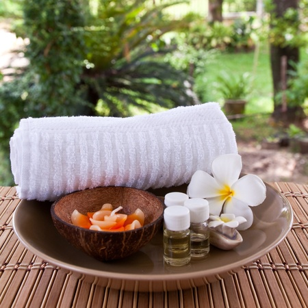 Set of aroma in spa for relax photo