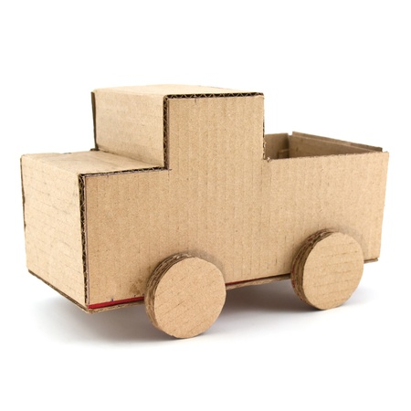 corrugated cardboard: truck model made from Corrugated paper isolated on white background