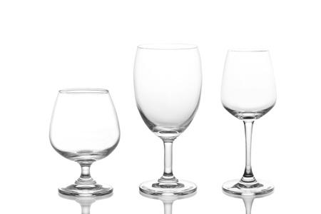 empty wine glass isolated on white background photo