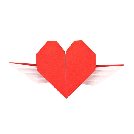 impulsive: Red paper heart with wings origami, isolated on white Stock Photo