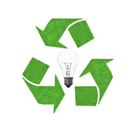 reusable lightbulb and sign, conservation concept Stock Photo - 10014768