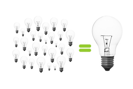 Many small light bulbs together, its mean to many small thinking together, then become to the great thinking Stock Photo