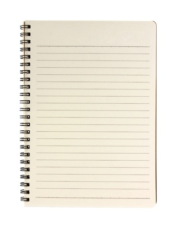 blank notebook isolated on white background photo