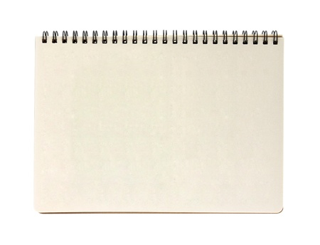 blank notebook isolated on white background