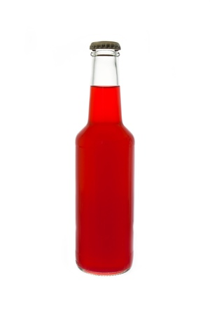colorful still life: colorful bottle of drink on white background