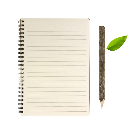 notebook and wooden pencil isolated on white background, conservation concept Stock Photo - 10562077