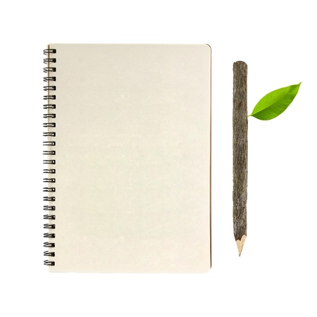 notebook and wooden pencil isolated on white background, conservation concept Stock Photo - 10571403