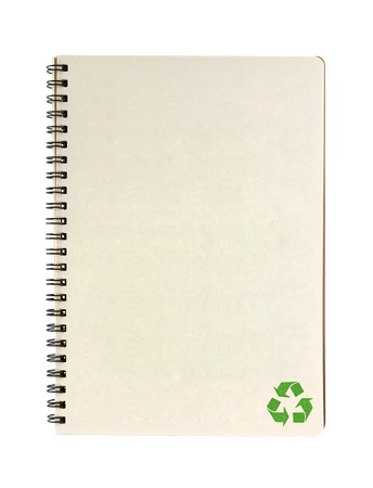 recycle notebook isolated on white background, conservation concept photo