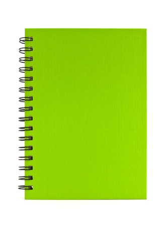 green notebook isolated on white background, office equipment Stock Photo