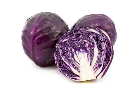 red cabbage: fresh red cabbage on a white background