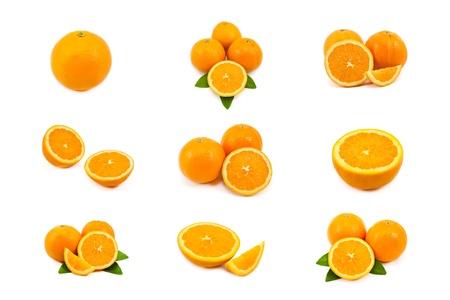 naranjas fruta: mezcla de orange aislada sobre fondo blanco