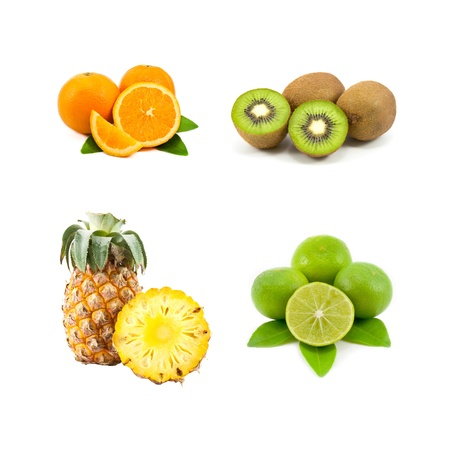 mixed of four kinds of fruit, orange, kiwi, pineapple and lime Stock Photo