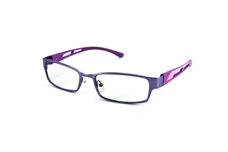 educations: violet eyeglasses isolated on white background Stock Photo