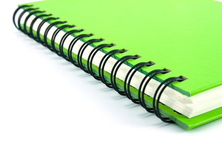 notebook page: green notebook isolated on white background, office equipment Stock Photo