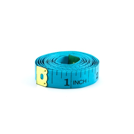 measure height: roll of measuring tape isolated on white background Stock Photo