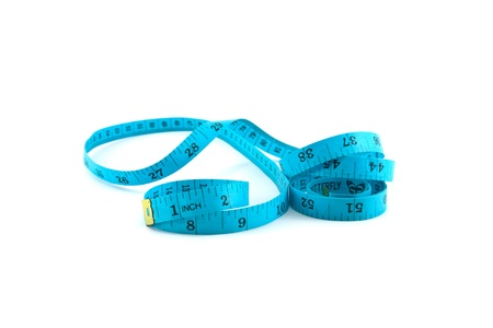tapeline: roll of measuring tape isolated on white background Stock Photo